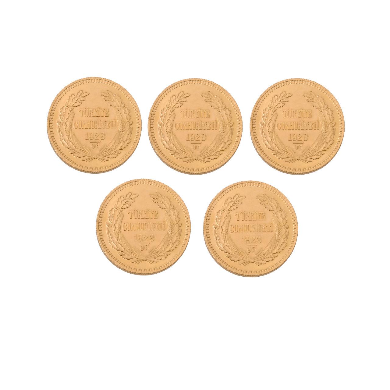 5 Adet Ata (Cumhuriyet) Altın Eski Tarihli